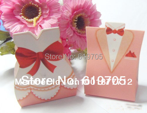 Free shipping paper pink tuxedo gown favor box weding for Wedding dress shipping box