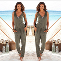 2016 Summer European Style New Fashion Zipper Sexy Long Jumpsuit Solid Overalls for Women Rompers combinaison femme