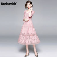 Borisovich Female Casual Long Dress New Brand 2018 Autumn Fashion Big Swing Hollow Out Pink Luxury Lace Women Party Dresses M881