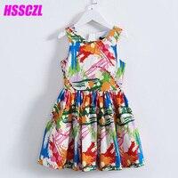 HSSCZL 2017 New Graffiti Pleated Girls Dresses Kids Baby High End Brand Children S Dress Summer