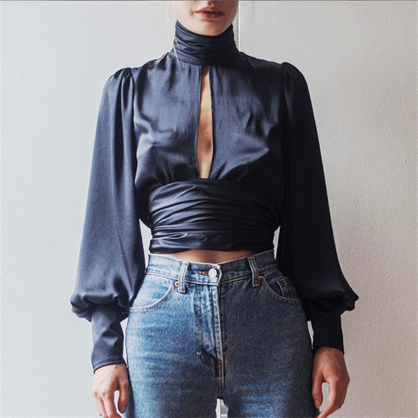 New Fashion Modern Women's Sexy StyleTops Summer Chiffon Long Sleeve High Neck Slit Shirt Puff Sleeve Solid Navy Blue Blouse