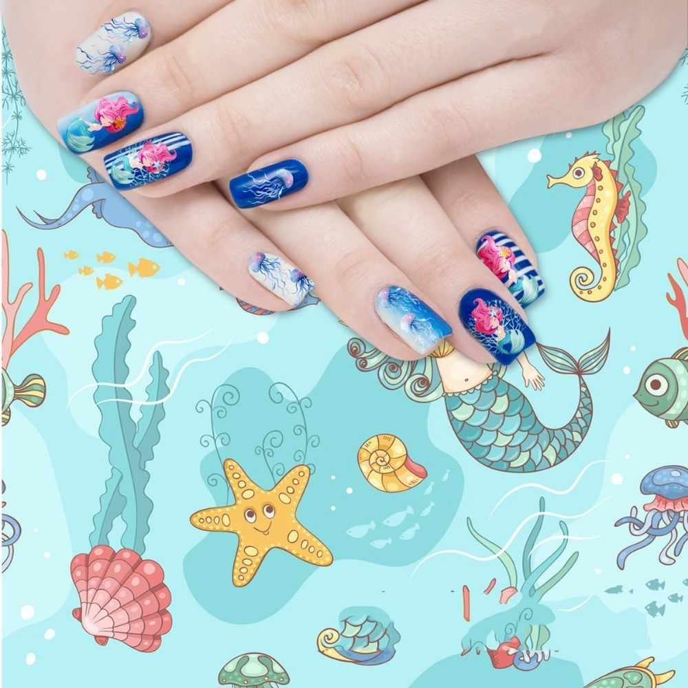 BEAUTYBIGBANG 1 Pc เล็บสติกเกอร์ Ocean Theme Mermaid Starfish แมงกะพรุนความงามตกแต่ง DIY ใช้งานง่ายสำหรับเล็บ Art