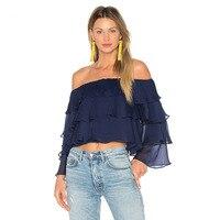 QA1174 Camisa Feminina High Quality Ruffles Off Shoulder Shirt Women Fashion Crop Top Long Sleeve Blouse