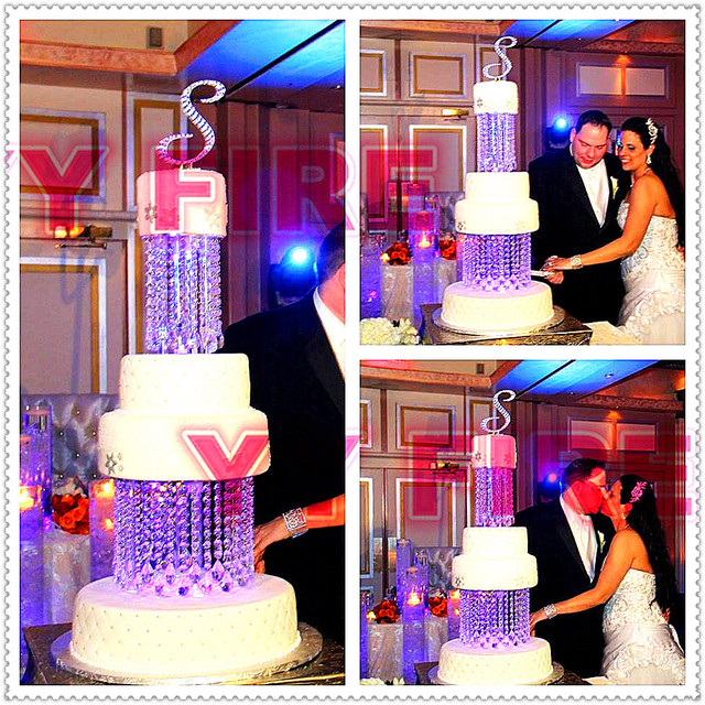 "2Tier/Lot Wedding Crystal  Cake Stand Round or Square- 8"" & 10"" adorned with sparkling acrylic crystals and tear drop pendants"