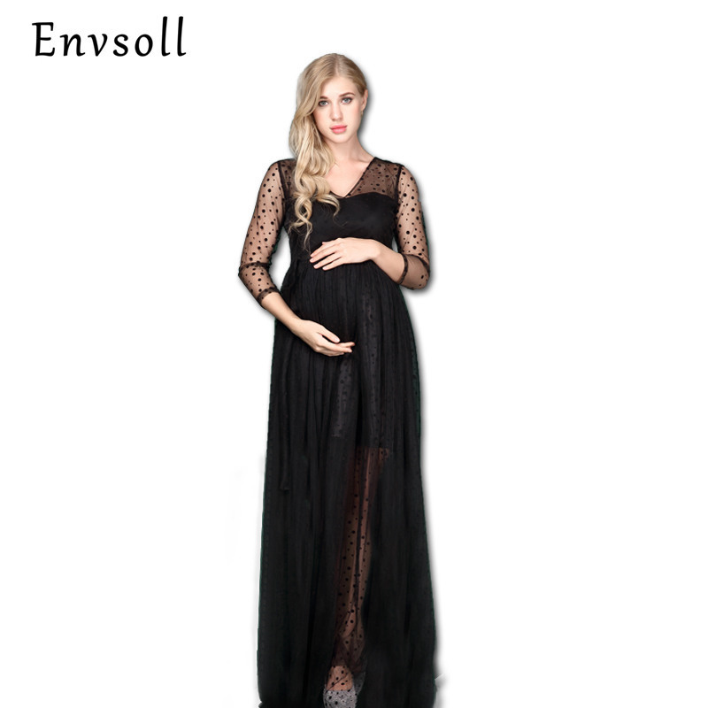 Envsoll Pregnant Women Photography Props Long Lace Dresses Fancy Maternity Photo Shoot Long Sleeve V-neck Black Dress Clothes new europe new 2018 spring summer pregnant women causal sexy v neck long flare sleeve hollow out lace dress maternity clothes page 6