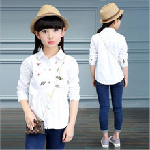 2017 New Brand Baby Girl Blouse Spring Autumn Kid School Long Sleeve Casual Cartoon Embroidery Top Shirts Girl Fashion Clothes