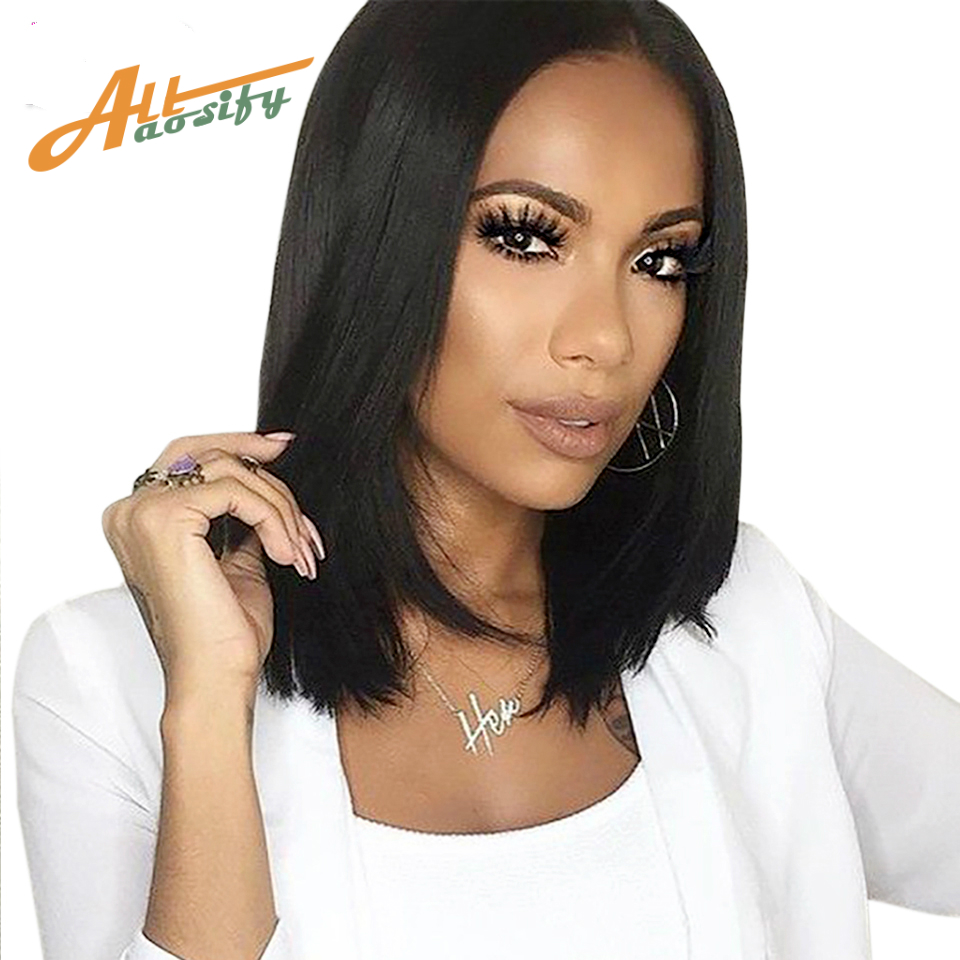 Allaosify Short Straigth Black Bob Wigs for Women High Temperature Fiber Wig for African American Bob Wigs