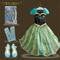 New Baby Girl Anna Elsa Dress High Grade Princess Cinderella Summer Fancy Kids Snow Queen Cosplay