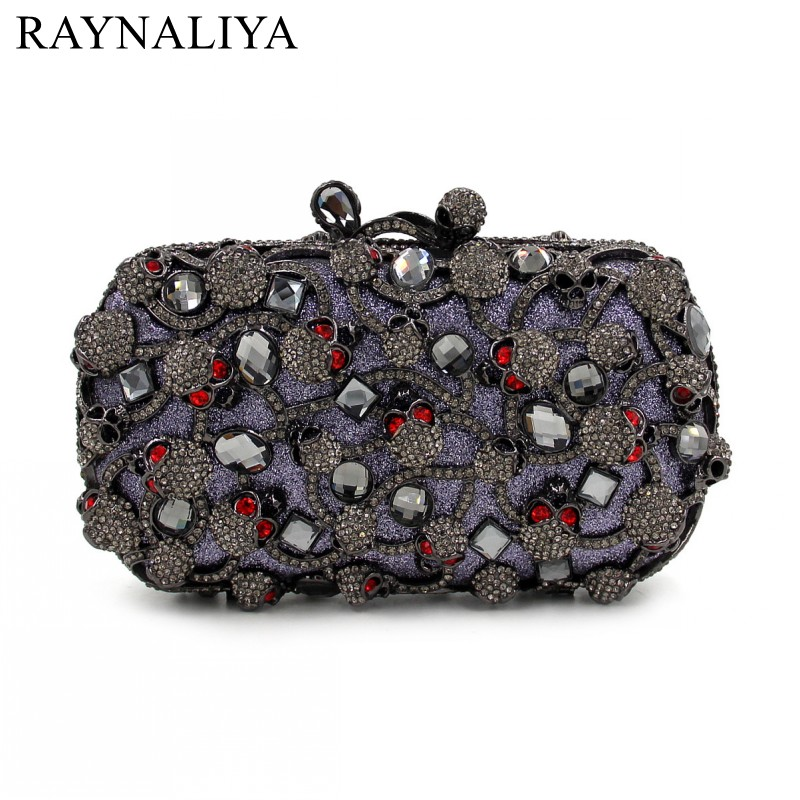 New Women Skull Gold Bags Ladies Evening Clutch Bag Female Party Fashion Purses Casual Diamonds Minaudiere Smyzh-e0141 women luxury rhinestone clutch beading evening bags ladies crystal wedding purses party bag diamonds minaudiere smyzh e0193 page 7
