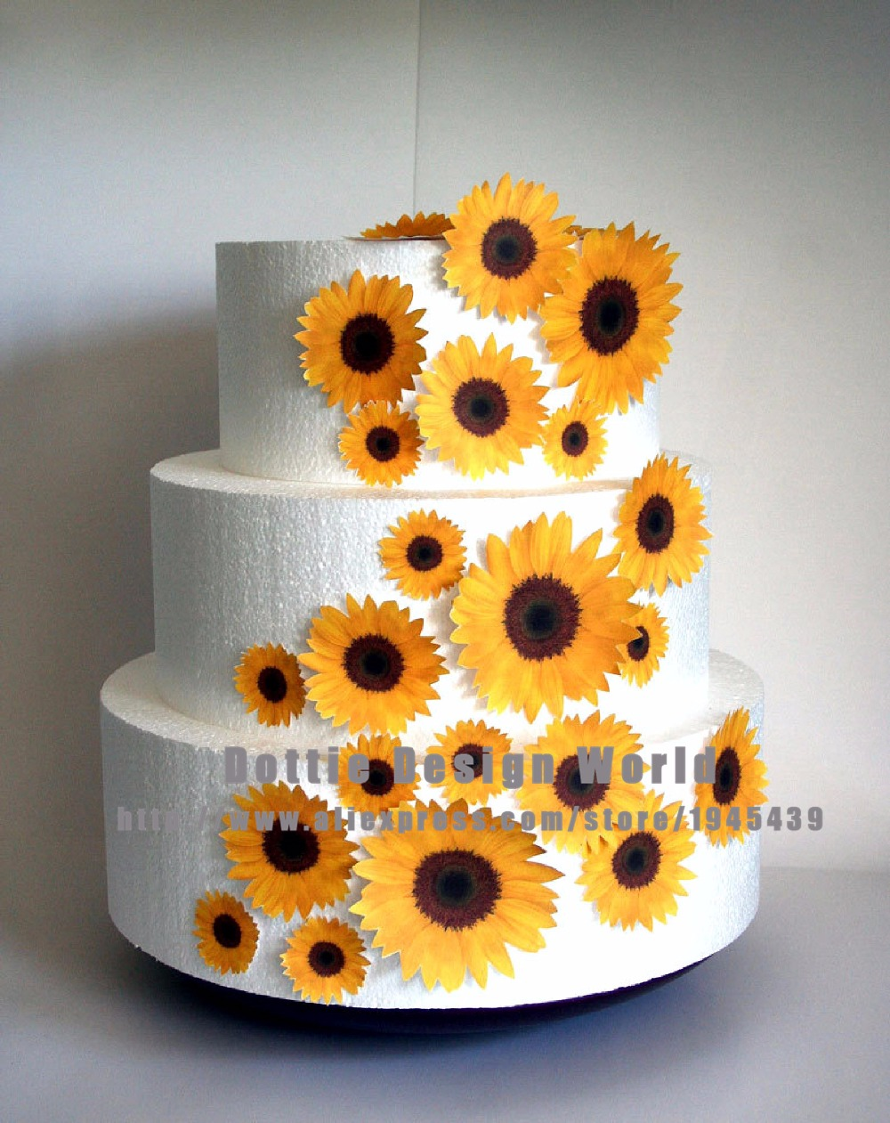 Cake Designs On Rice Paper : Aliexpress.com : Buy 25 Mixed Sunflower Edible cake topper ...