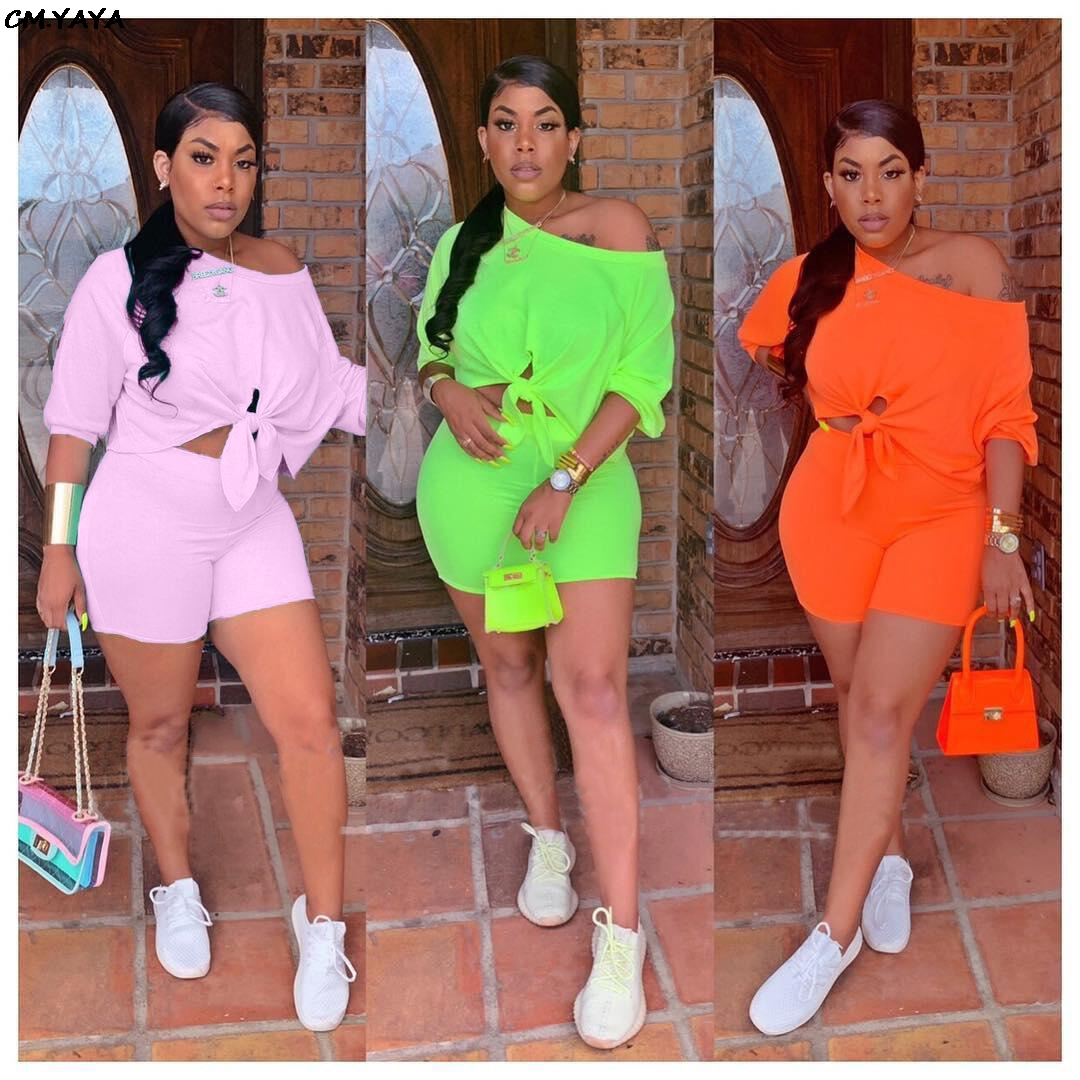 HTB1mI9yU3HqK1RjSZFgq6y7JXXaR - women new summer three quarter length sleeve tie up hem off shoulder top shorts suit two piece set tracksuit outfit Q5102