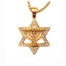 Israel Menorah Judaism Hebrew Necklace Star of David Menorah Gold color Religious Neclace circus menorah page 3