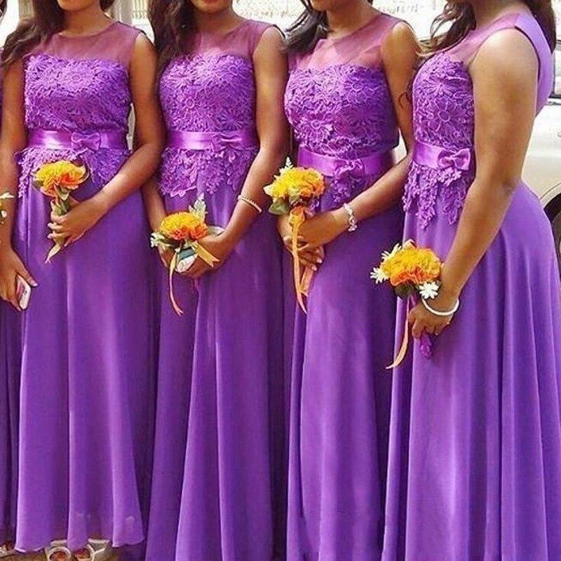 Purple Chiffon   Bridesmaid     Dress   A line Vestido De Festa Casamento Long   Bridesmaid     Dresses   Cheap Lace   Bridesmaid   Gown Sleeveless