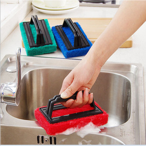 Brosse de décontamination avec poignée   Brosse de nettoyage de fond en éponge gomme magique, brosse de bain nano en céramique + Z