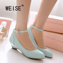 Spring Autumn Sweet Candy Colors Low-Heeled Ankle Strap Women Shoes  Pump Leather Shoes Work Shoes Large Size Wedding Shoes