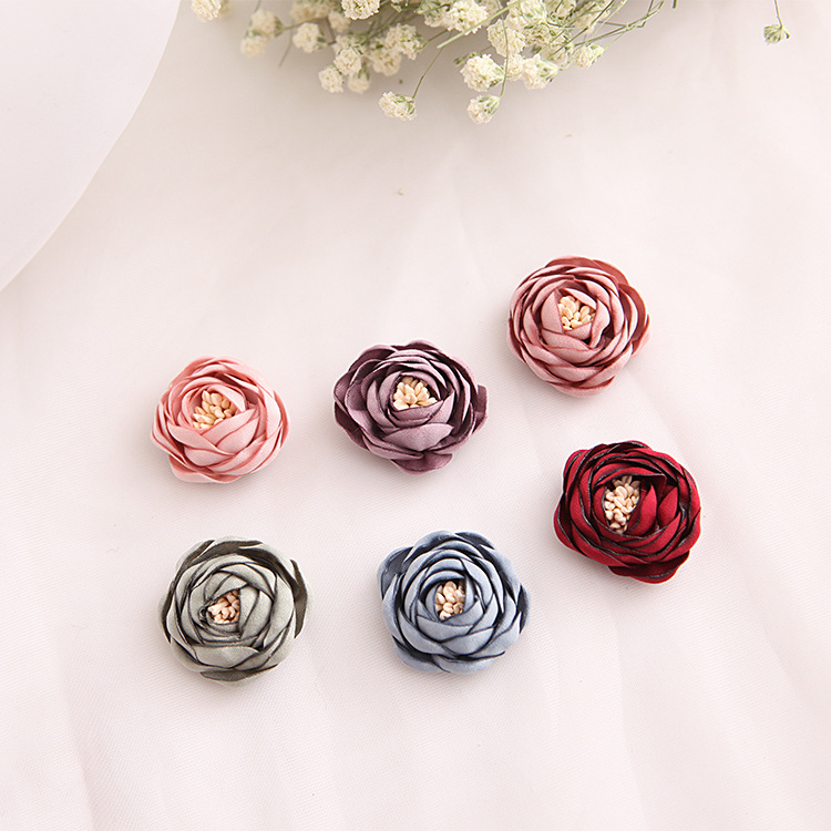 Artificial Rose Flowers with stamen for Hair Accessories High Quality Rosette Flowers DIY Flower Decorations