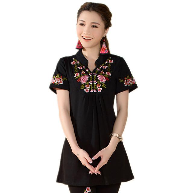 De origen Chino Peonía Bordado Del Collar Del Soporte Informal de manga Corta Camiseta de Las Nuevas Mujeres de Algodón de Verano M-4XL