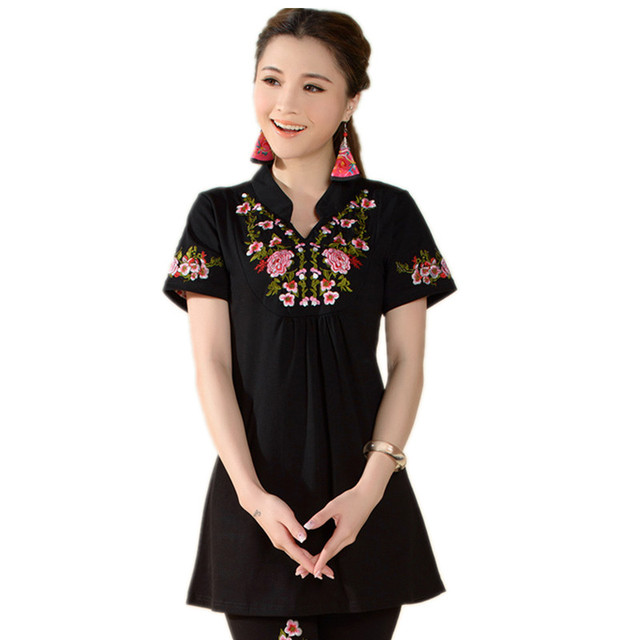 Ethnic Chinese Peony Embroidered Stand Collar Casual Short-sleeved T-shirt New Women's Cotton Summer M-4XL