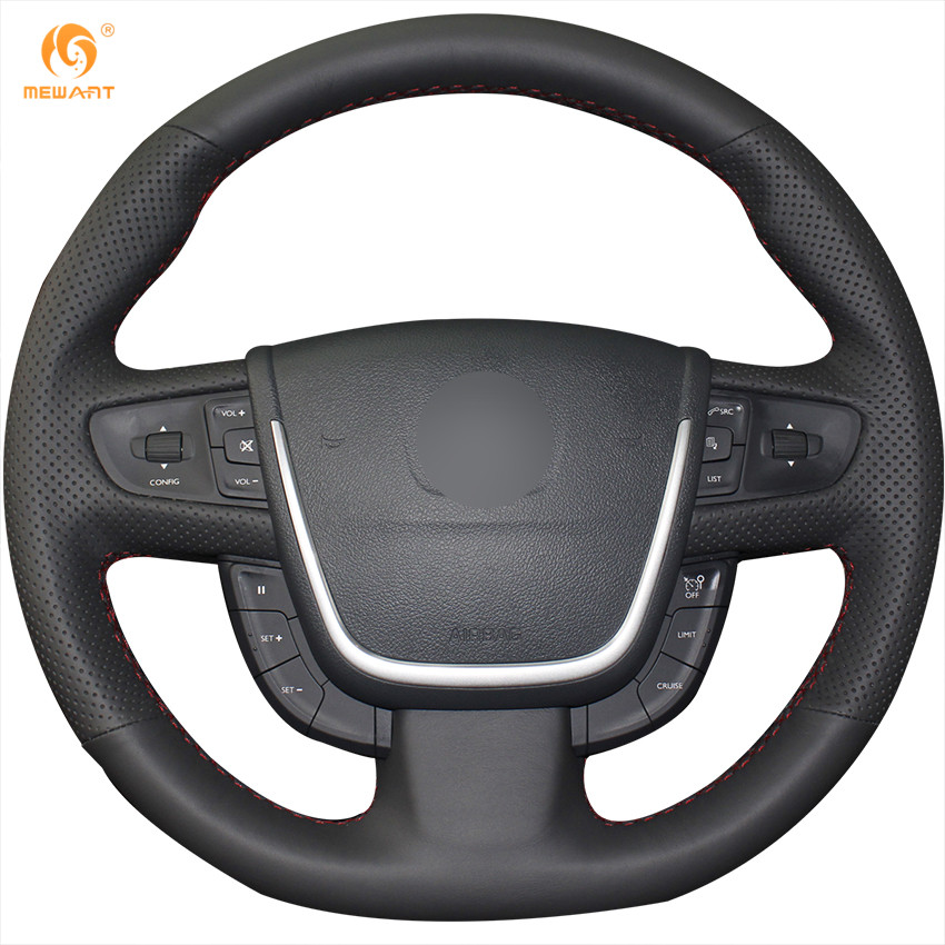 MEWANT Black Artificial Leather Car Steering Wheel Cover for Peugeot 508