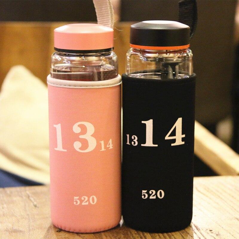 500ml Glass Water Bottle with Tea Infuser Drinking Water Tea Bottle Stainless Steel Filter Lovers Outdoor Sport Fruit Drinkware