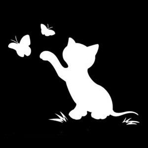 Image 2 - 16.8 سنتيمتر * 12.9 سنتيمتر القط فراشة الموضة ديكور سيارة ملصق ملصق حائط من الفينيل أسود/فضي S3 6153