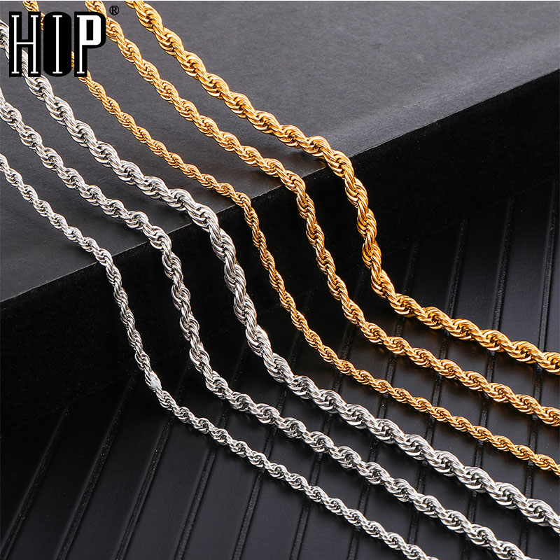 HIP Hop Width 3mm 4mm 5mm Rope Chain Necklace Twisted Gold 316L Stainless Steel Necklaces title=