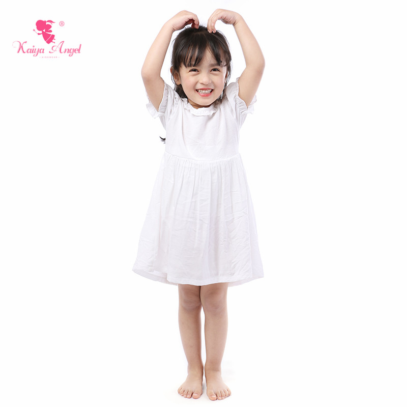 Kaiya Angel 2019 New Baby Girl Dress Solid White Casual Summer Kid Clothes Middle Sleeve Knee length Factory Wholesale 5pcs/lot