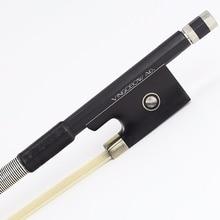 FREE SHIPPING 4/4 Size Black Carbon Fiber VIOLIN BOW Good Quality Ebony Frog White Violin Bow Hair Violin Parts Accessories 100V
