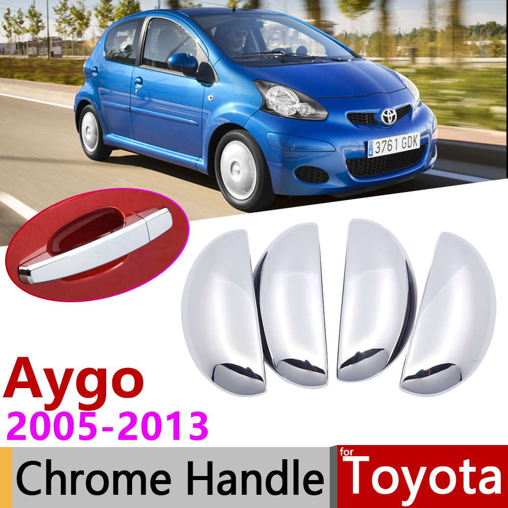 For Toyota Aygo MK1 2005~2013 Chrome Door Handle Cover Car Accessories Stickers Trim Set 2006 2007 2008 2009 2010 2011 2012