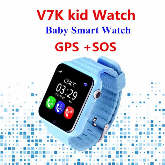 Gps smart watch v7k crianças do bebê à prova d' água inteligente relógio com Chamada SOS Localização Rastreador Dispositivo Anti-Perdido Do Monitor da câmera PK Q100 Q90