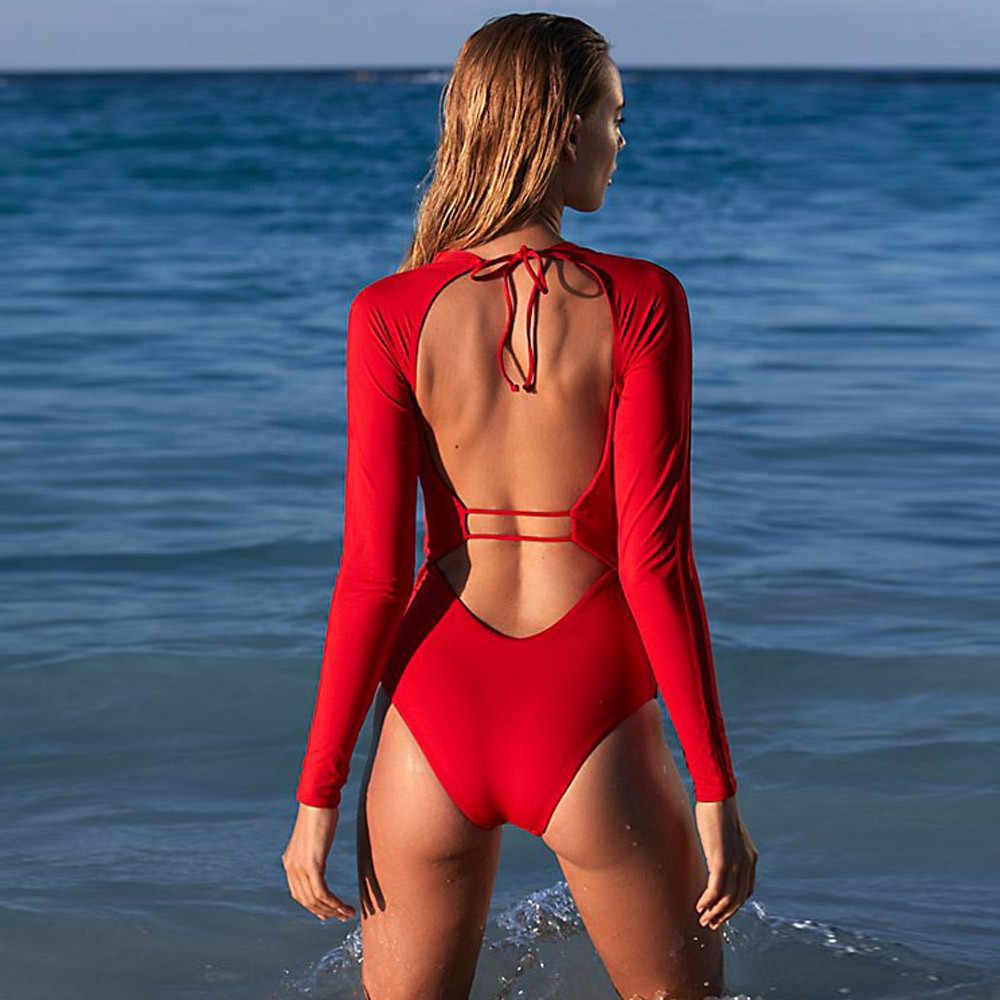 Perimedes Kadın Döküntü Guard kadın Mayo Sörf Bayanlar Rahat Bodysuit Leotard V Yaka Backless Seksi Ince Parti Tulum # g25