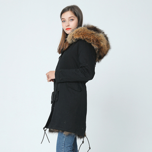 Image 4 - OFTBUY 2020 long winter jacket women outwear thick parkas raccoon natural real fur collar coat hooded real warm fox fur liner