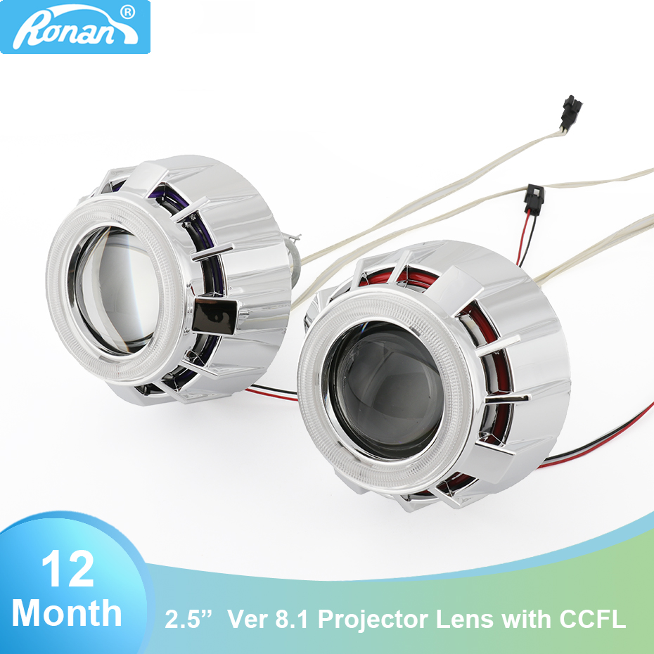RONAN mini 2 5 double ccfl Angel Eyes Bi xenon Projector car headlights Lens white red