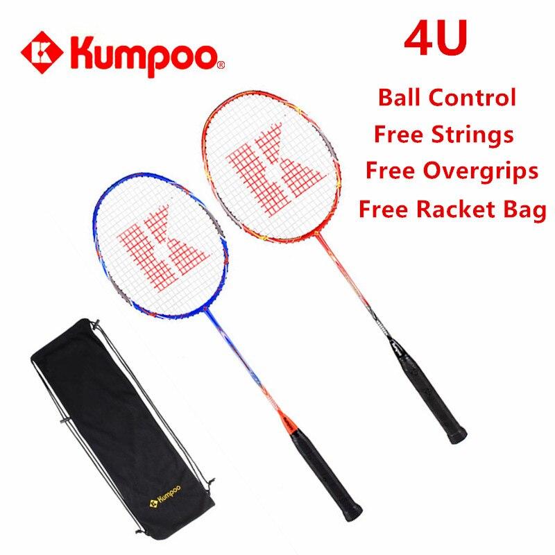 2 шт./лот Kumpoo Бадминтон ракетки высокое качество мяч Управление ракетки Полный Carbon Super Light 4u Raquette до 26lbs l810