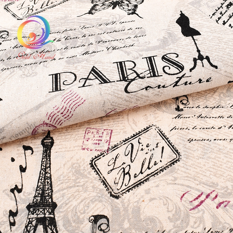 Eiffel Tower,Printed Cotton Linen Fabric For Quilting,DIY Sewing,Sofa,Curtain,Bag,Cushion,Furniture Cover Material,Half Meter