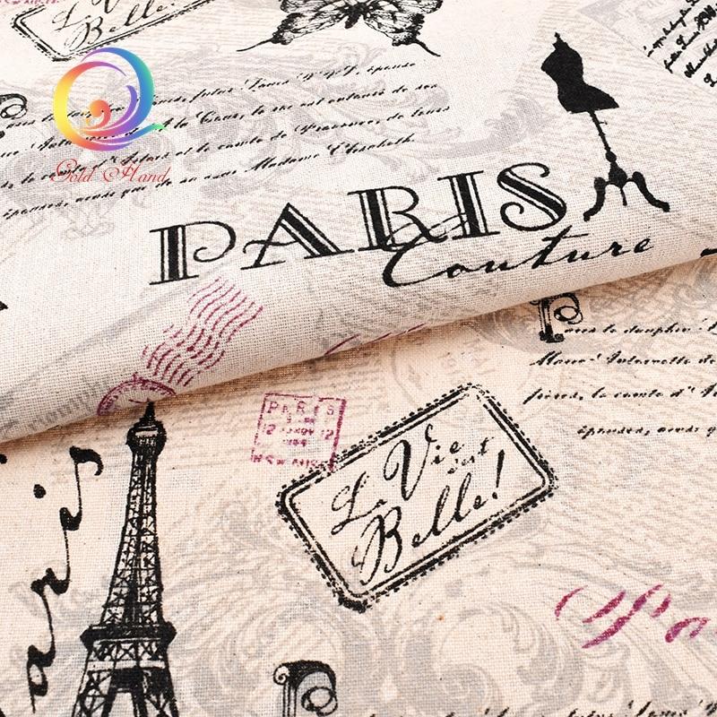Torre Eiffel, tela de lino de algodón impresa para acolchar, costura de bricolaje, sofá, cortina, bolsa, cojín, material de cubierta de muebles, medio metro