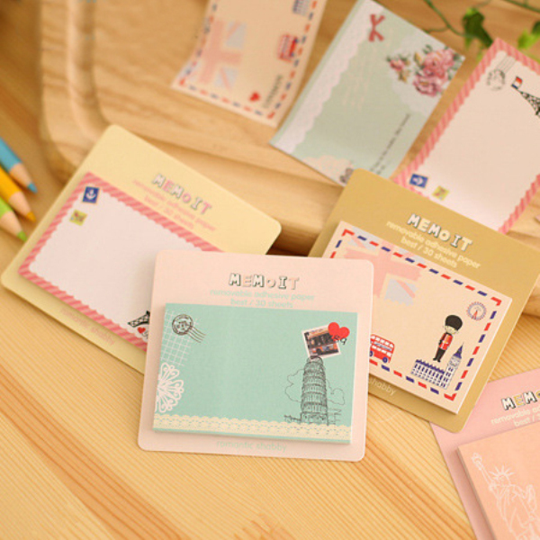 1Pcs New Fashion European Style Sticky Cute Paper Message Poste Sticker Creative Printed Post-It Note H0341