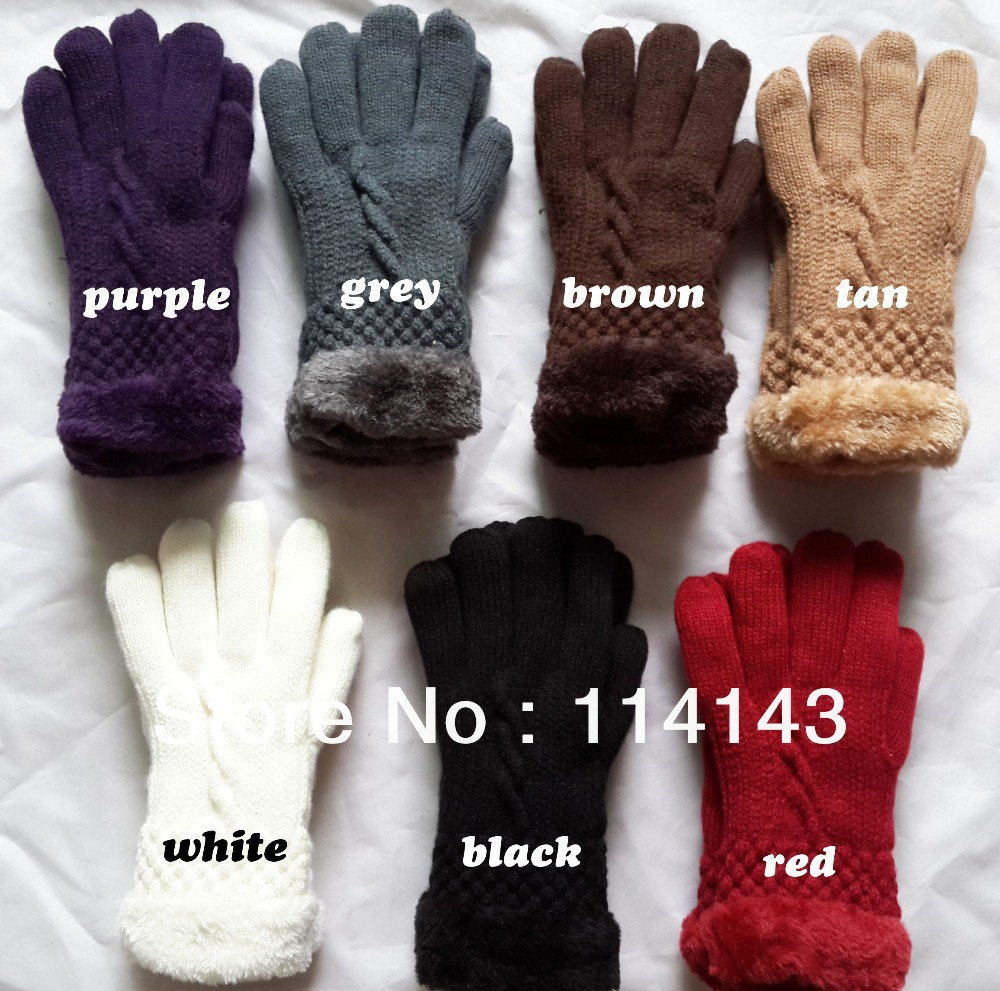 Black gloves fur trim - Thick Ladies Soft Cotton Winter Gloves Fur Trim Knitted For Women 7 Colors Free Shipping In Gloves Mittens From Women S Clothing Accessories On