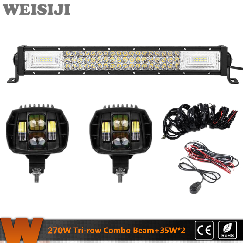 WEISIJI Hot Selling Tri-row 270W LED Light Bar+2Pcs 35W Low Beam LED Work Lights+2Pcs Wiring Kits Set for Jeep Truck SUV ATV UTV видеоигра бука saints row iv re elected