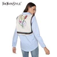 TWOTWINSTYLE 2016 Autumn Original Flower Print Back Stitched T Shirt Women New Fashion