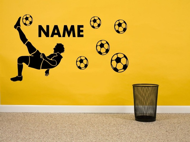 Football player personalised boys name footballs vinyl wall sticker mural wall decals black customize color wallpaper