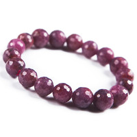 Genuine Natural Red Gem Stone Faced Jewelry Bead Stretch Crystal Lady Fashion Bracelets 11mm