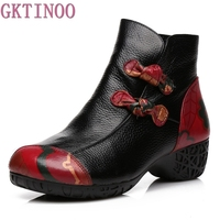 Autumn And Winter Women National Trend Genuine Leather Boots Handmade Vintage Motorcycle Ankle Shoes Flower Martin