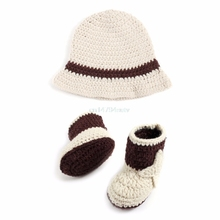 Newborn Baby Cowboy Crochet Costume Knitted Costume Hat+Shoes Photography Props #H055#