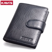 KAVIS 2017 New Slim Genuine Leather Mens Wallet Man Cowhide Cover Coin Purse RFID Small Brand