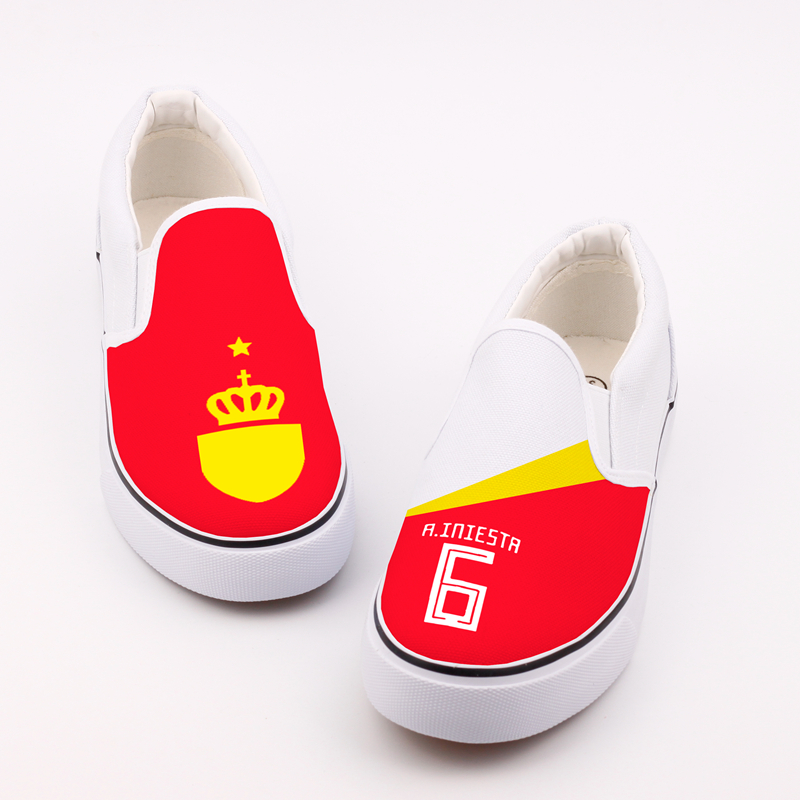 E-LOV Unique Design Espana World Stars Printed Canvas Shoes Custom Spain Flag Spanish Women Loafers Casual Lazy Shoe Zapatos e lov unique design taurus horoscope luminous canvas shoes women diy graffiti couples lovers casual flats zapatillas mujer