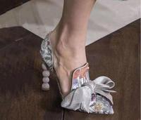 Новинка весны Для женщин модный принт или бархат острый носок слипоны большой бант галстук бабочка узел жемчугом каблук вечерние элегантны