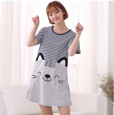Cotton 2019 Women Loose Nightgowns Sleepshirts Sleepwear  Girl's Underwear Nightdress Sleep Lounge Womens Nightwear AW7647