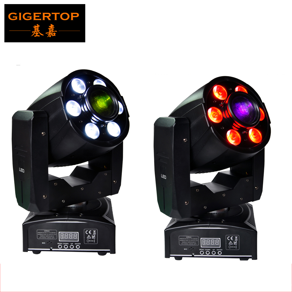 Freeshipping 2XLOT 1x30W White+6x8W RGBW 4IN1 LED Mini Moving Head DJ Disco Stage Party Effect Lighting Manual Zoom Gobo Lens