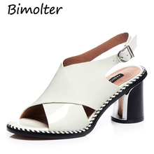 Bimolter Original Retro Women Sandals Thick Heel Cowhide Handsome Buckle Roman Cool Shoes Handmade Genuine Leather FC041